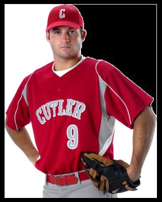 Alleson 2 Button Henley Baseball Jersey 529